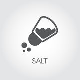 Salt shaker seasoning icon in flat design. Pictogram for food cooking theme. Simple emblem of spice. Vector illustration Stock Photo