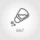 Salt shaker seasoning icon in line style. Outline pictogram for food cooking theme. Simple emblem of spice. Vector Royalty Free Stock Images