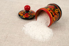 Salt shaker from spilling table salt. Stock Images