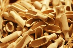 Salt shovel. Wooden salt spoon or shovel Royalty Free Stock Images