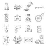 Salt Signs Black Thin Line Icon Set. Vector. Salt Signs Black Thin Line Icon Set Include of Spoon, Sprinkle Hand, Saltcellar and Fish. Vector illustration of vector illustration