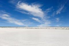 Salt sjö med blå himmel Arkivfoton