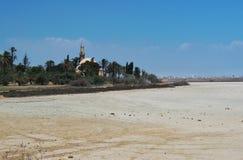 Salt sjö och moskén arkivbilder