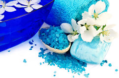 Salt and soap blue with towel and flowers of apple Stock Photography
