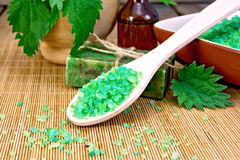 Salt and soap with nettles in mortar on board Stock Images