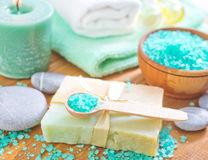 Salt and soap Royalty Free Stock Photography