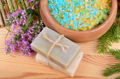 Salt and soaps Stock Image