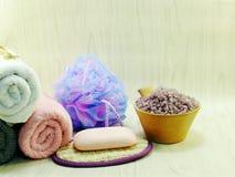 salt spa μαλακά προϊόντα λουτρών ριπών σαπουνιών και ντους Στοκ Φωτογραφίες