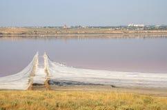 Salt spit in Kuyalnicky liman (lake) near Odessa,Ukraine Stock Image