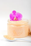 Salt, spoon, towel and orchid Stock Images