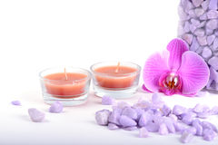 Salt, spoon, towel and orchid Stock Photos