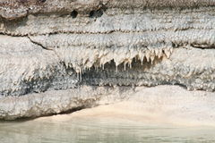 Salt stalactites, dead sea, jordan Royalty Free Stock Photos