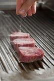 salt steak för nötkött Arkivfoto