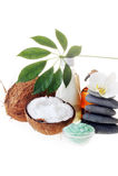 salt stenar för kokosnöt Arkivfoton