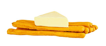 Salt Sticks With Cheese. Diet Breakfast of Salt Sticks and Cheese Stock Photo