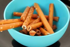Salt sticks snack. Salted sticks. Royalty Free Stock Photo