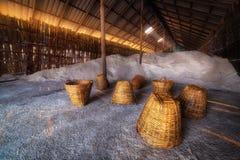 Salt storage, Food industry background scene Royalty Free Stock Image