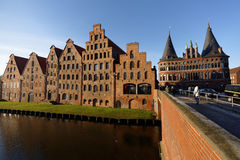 Salt storehouses and Holsten Gate in Lubeck, Germany Stock Photos