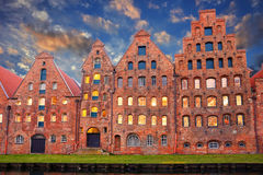 Salt storehouses of Lubeck at night Stock Photos