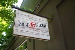 Salt and Straw Ice Cream Portland Oregon. PORTLAND, OR - JULY 27, 2016: Salt and Straw ice cream shop, a very busy desset location on NW 23rd in Portland Oregon Stock Images
