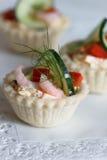 Salt tartlets with shrips; selektive fokus Stock Photo
