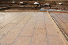 Salt terrace. View of how the salt formed in a salt terrace from a salt mine located in Rio Maior - Portugal Royalty Free Stock Photos