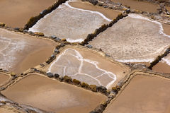 Salt terraces in Maras, Peru. Salt terraces in Maras in Peru on an afternoon sunny day royalty free stock photos