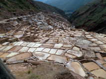Salt Terraces. View of the Maras salt terraces located in the Sacred Valley in Peru Stock Images