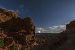 Salt Valley in background lightning strike Stock Image