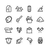 Salt vector line icons set. Illustration of salt icon for cook meat and fish Royalty Free Stock Image