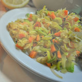 Salt veggies. Leek and carrots Royalty Free Stock Images