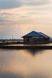 Salt warehouse landscape in evening Royalty Free Stock Photography