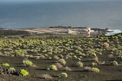 Salt water lakes  and lighthouse in Fuencaliente Royalty Free Stock Images
