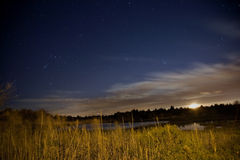 Salt Water Marsh Under Stars and Moon Royalty Free Stock Photos