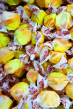 Salt Water Taffy in a Bin. A popular, chewy candy in the United States, salt water taffy ingredients are sugar, cornstarch, corn syrup, glycerine, water stock photos
