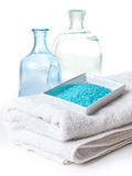 Salt, white towels and a bottles Stock Photo