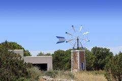 Salt windmill  Formentera Ibiza Balearic Royalty Free Stock Image