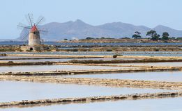 Salt flats near Marsala in Sicily Stock Photography