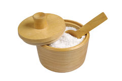 Salt in wooden bowl Stock Photos
