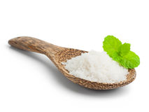 Salt in a wooden spoon Stock Image