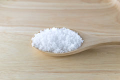 Salt in wooden spoon Royalty Free Stock Image
