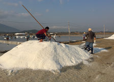 Salt workers working at the factory Royalty Free Stock Photography