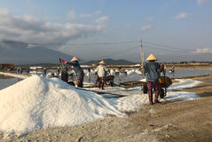 Salt workers working at the factory Stock Photo