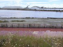 Salt lagoons at a French salt works Stock Image