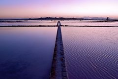 Salt-works em Marsala, Sicília fotografia de stock royalty free