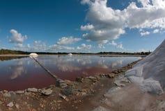 Salt works exploitation in mallorca wide Royalty Free Stock Photo