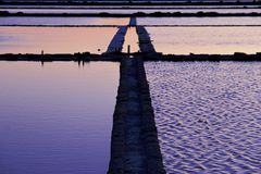 Salt-works in Marsala, Sicily royalty free stock photo