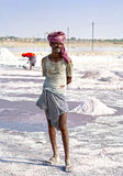 Salt works, Sambhar salt lake, Rajasthan, India Royalty Free Stock Photography