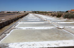 Salt works in Tavira, Portugal Stock Photos