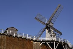 Salt-works with windmill in Germany Stock Photos